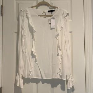 Sanctuary white ruffle blouse size XS